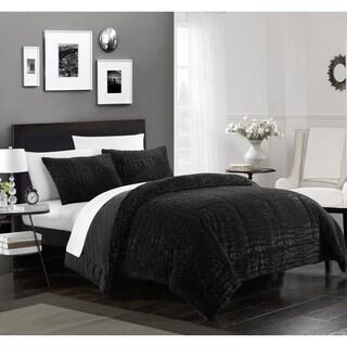 Chic Home Caimani 3 Piece Comforter Set Faux Fur, Black