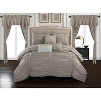 Chic Home Hallstatt 20 Piece Comforter Set Designer Bed in a Bag Bedding, Taupe