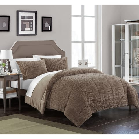 Chic Home Caimani 3 Piece Comforter Set Faux Fur, Brown