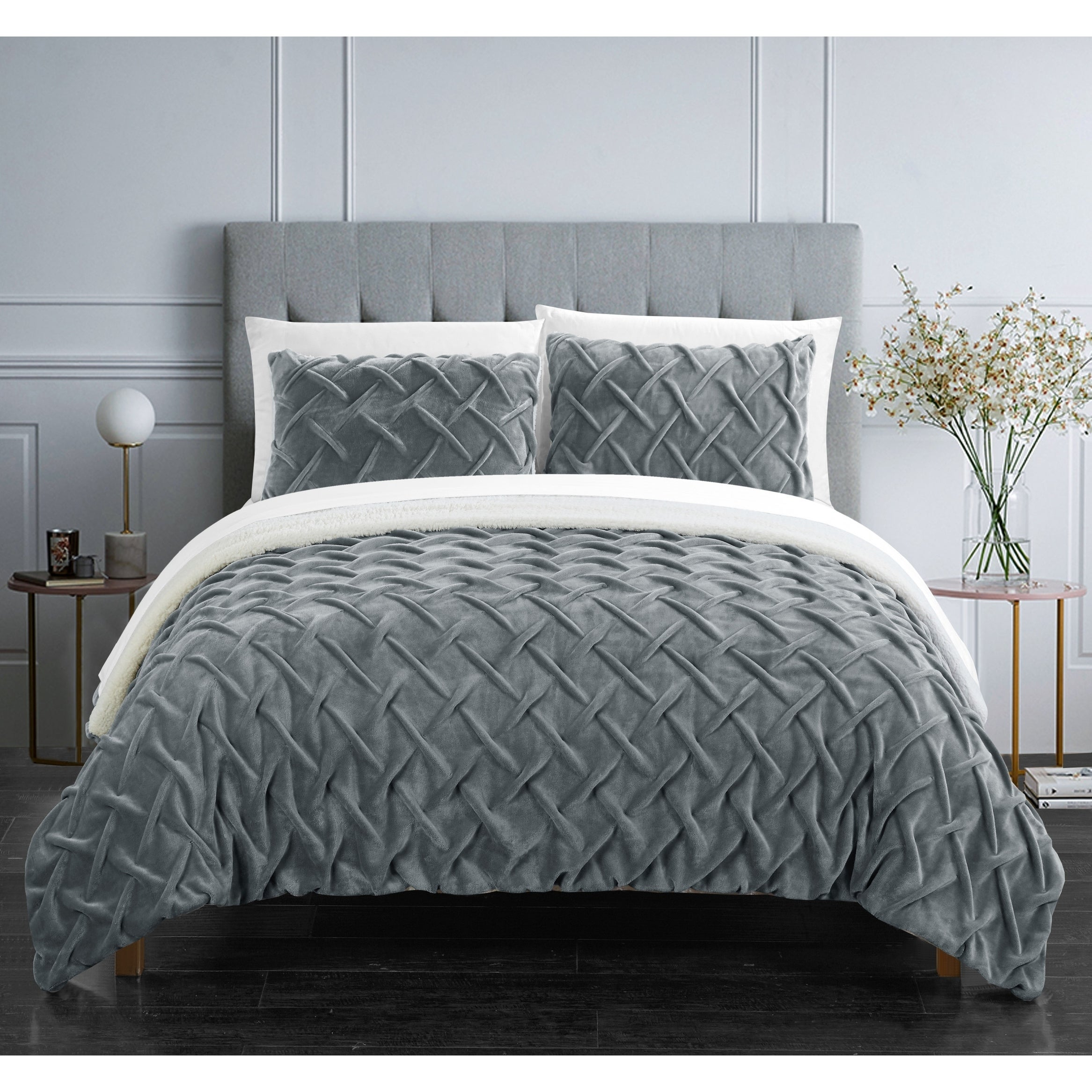 Chic Home Noam 3 Piece Ultra Plush Pinch Pleat Sherpa Lined Comforter Set Overstock 20759628 King