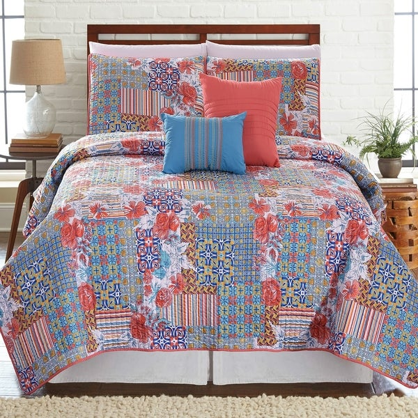 Amrapur Overseas Bellanova 5-Piece Printed Reversible Quilt Set