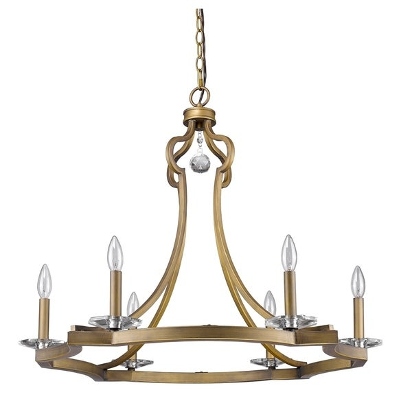 Acclaim Lighting Peyton Chandelier W/Crystal Bobeches In Raw Brass