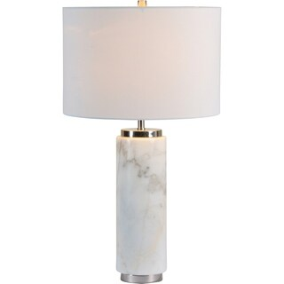 Renwil Pearlie White Marble and Satin Nickel Table Lamp