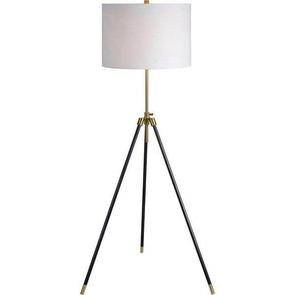 Renwil Jesper Black and Antique Brass Iron 1-light Floor Lamp