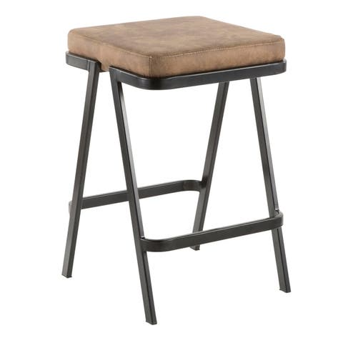 Seven Industrial Upholstered Counter Stool with Black Metal Frame
