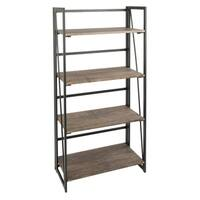 Pine Canopy Endine Industrial Metal and Wood Bookcase