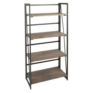 Dakota Industrial Metal and Wood Bookcase