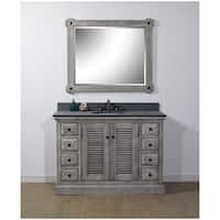 "48""Rustic Solid Fir Single Sink Vanity in Grey-Driftwood Finish with Polished Textured Surface Granite Top-No Faucet"