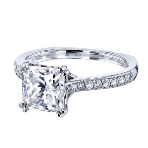 Annello by Kobelli 14k Gold 2 1/10ct TGW Princess Moissanite and Diamond Square Shank Trellis Engagement Ring
