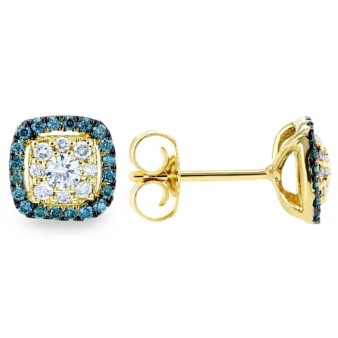 Annello by Kobelli 14k Yellow Gold 1/3ct TDW White and Blue Diamond Halo Stud Earrings
