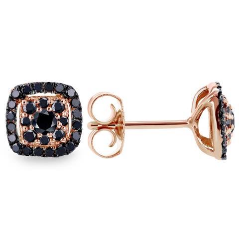 Annello by Kobelli 14k Rose Gold 1/3ct TDW Black Diamond Halo Stud Earrings