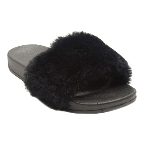 Blue Girls 'K-Gigi Fur' Faux Fur Sandals