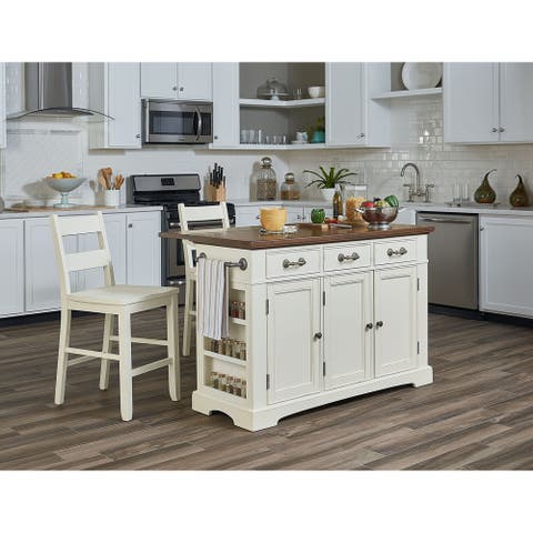 Country Kitchen Island with Drop Leaf and 2 stools