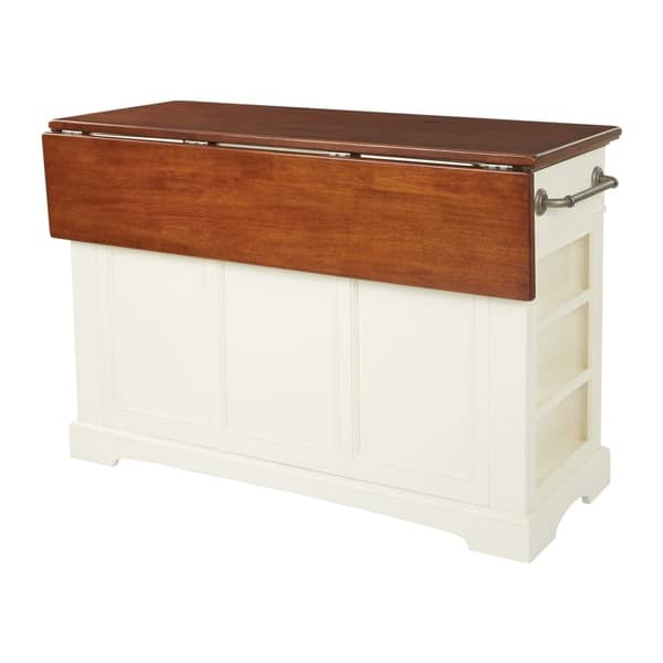 Country Kitchen Island With Drop Leaf And 2 Stools Overstock 20760694 White