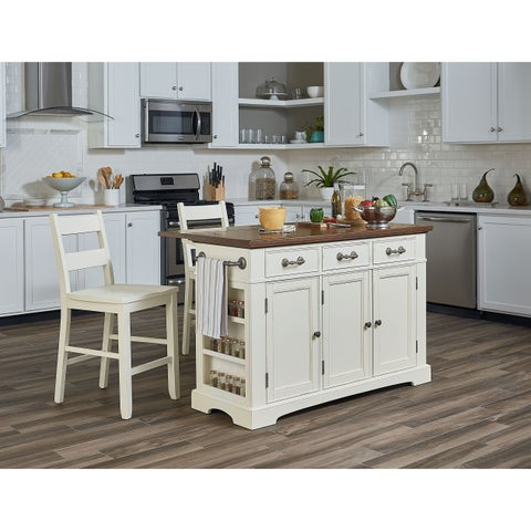 INSPIRED by Bassett Country Kitchen Island with Drop Leaf and 2 stools