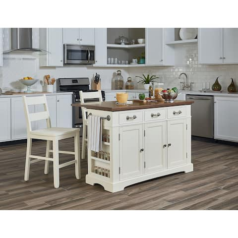 OSP Home Furnishings Country Kitchen Island with Drop Leaf and 2 stools