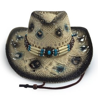 Amelia - 100% Paper Straw Cowboy Drifter Style Hat Old Stone - AH-238-BK