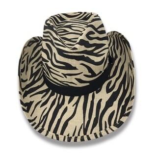 Amazon - 100% Paper Straw Zebra Print Cowboy Drifter Style Hat Old Stone - AH-351-ZS