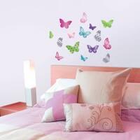 Glitter Butterflies Mirror Decal - Set of 6