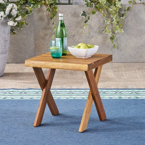 Eaglewood Outdoor Acacia Wood Side Table by Christopher Knight Home