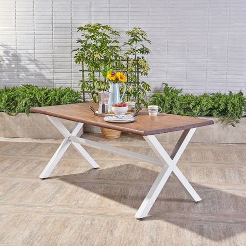 Cadiz Outdoor Faux Live Edge Acacia Wood Dining Table by Christopher Knight Home