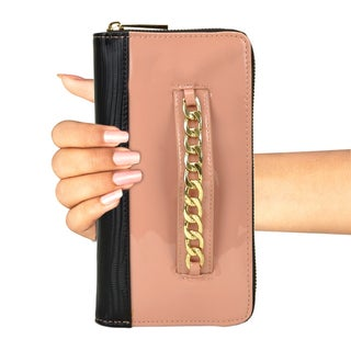 Gold-Tone Chain Faux Leather Zip Around Wallet