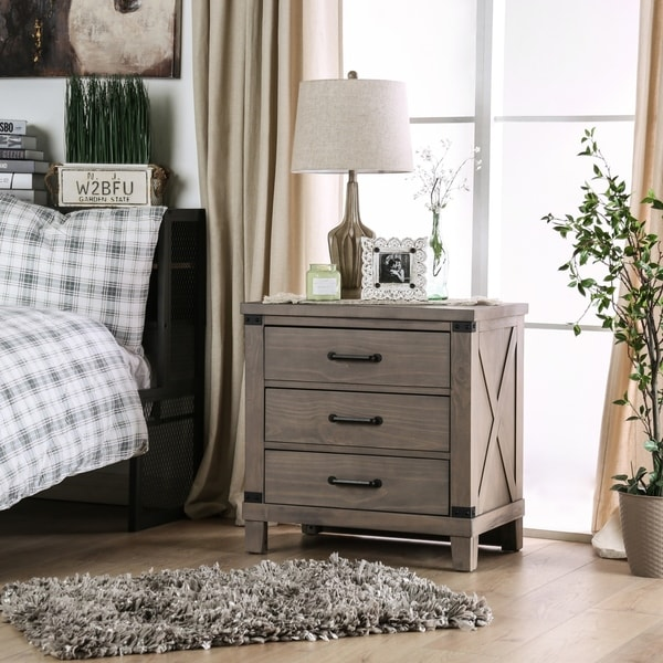 Furniture of America Sant Rustic Grey Solid Wood Nightstand. Opens flyout.