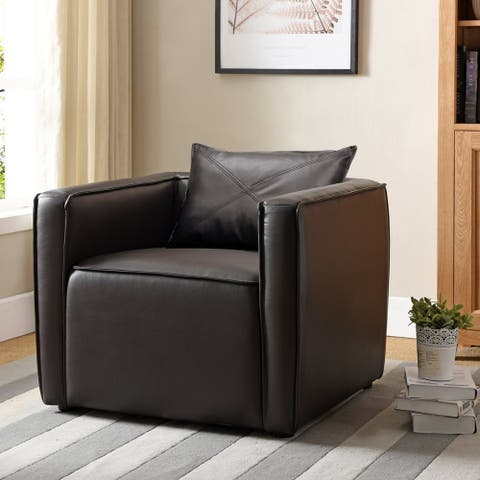 Furniture of America Jier Modern Breathable Vinyl Padded Accent Chair