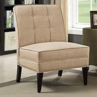 Furniture of America Adams Mid Century Modern Tufted Faux Linen Accent Chair