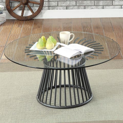 Stalworth Contemporary Gun Metal Round Coffee Table by FOA