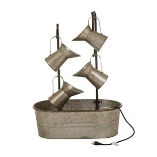 """33.25""""H Farmhouse Galvanized Metal Pitchers Fountain"""