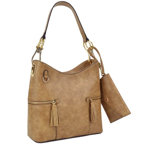 5a698517231c Dasein Classic Hobo Bag with Side Tassel zipped pockets and with Matching  Wristlet