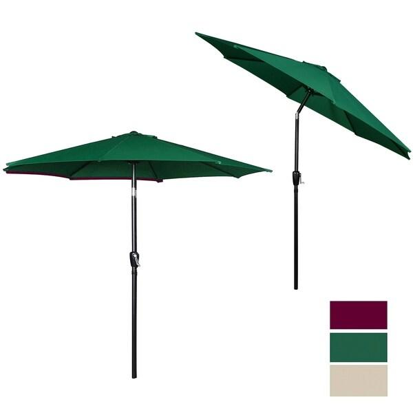 9 Ft Steel Patio Umbrella With Tilt U0026amp; Crank UV Resistant Canopy, Hunter  Green