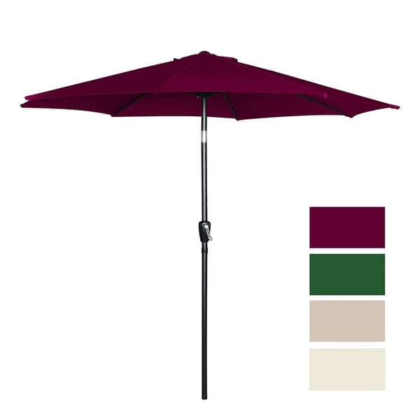 9 Feet Patio Tilt Umbrella Canopy Beach Outdoor Garden 8 Steels Ribs Polyester Uv
