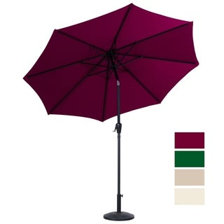 9 Ft Steel Patio Umbrella with Tilt & Crank UV Resistant Canopy, Burgundy