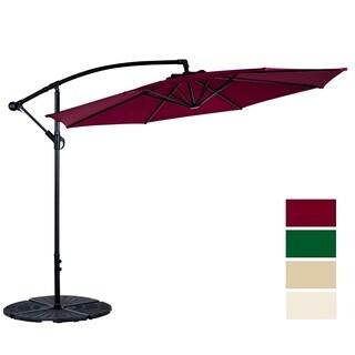 10 Feet Beach Umbrella UV Resistant Polyester 8 Steel Ribs Hanging Offset Patio W/T Umbrella Outdoor, Burgundy