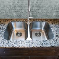 Stainless Steel Undermount 18 Gauge Double Bowl Kitchen Sink & Drains