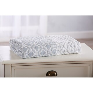 Erin Collection Quilted Throw Blanket with Unique Printed Geometric Pattern (Option: Pearl Blue)