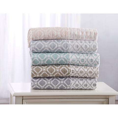 Erin Collection Quilted Throw Blanket with Unique Printed Geometric Pattern
