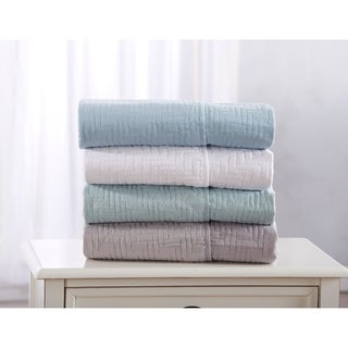 Westwood Collection Reversible Quilted Throw Blanket with Elegant Stitched Pattern