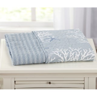 Coastal Reversible Quilted Throw Blanket with Beach Theme Pattern (5 options available)