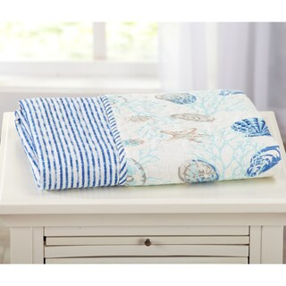 Coastal Reversible Quilted Throw Blanket with Beach Theme Pattern (4 options available)