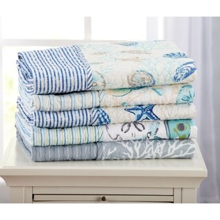 Coastal Reversible Quilted Throw Blanket with Beach Theme Pattern (2 options available)