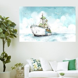 "Sea Ship Art Full Color Wall Decal Sticker AN-568 FRST Size 30""x47"""