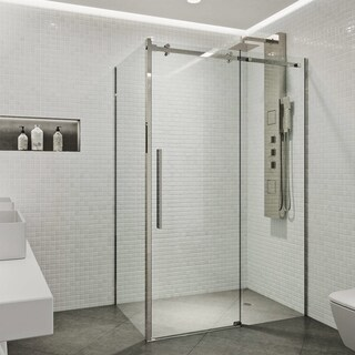 VIGO Alameda Stainless Steel 32x48-inch Frameless Sliding Door Shower Enclosure