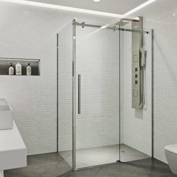 VIGO Alameda Stainless Steel 32x48 Inch Frameless Sliding Door Shower  Enclosure