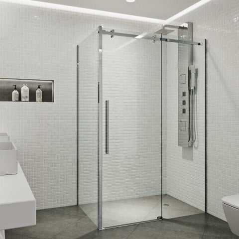 VIGO Alameda Chrome 32x48-inch Frameless Sliding Door Shower Enclosure