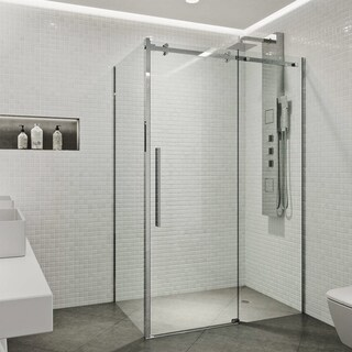 VIGO Alameda Chrome 32x48-inch Frameless Sliding Door Shower Enclosure