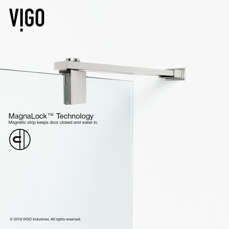 Vigo Cameo Clear 36 Inch Adjustable Frameless Pivot Shower Door