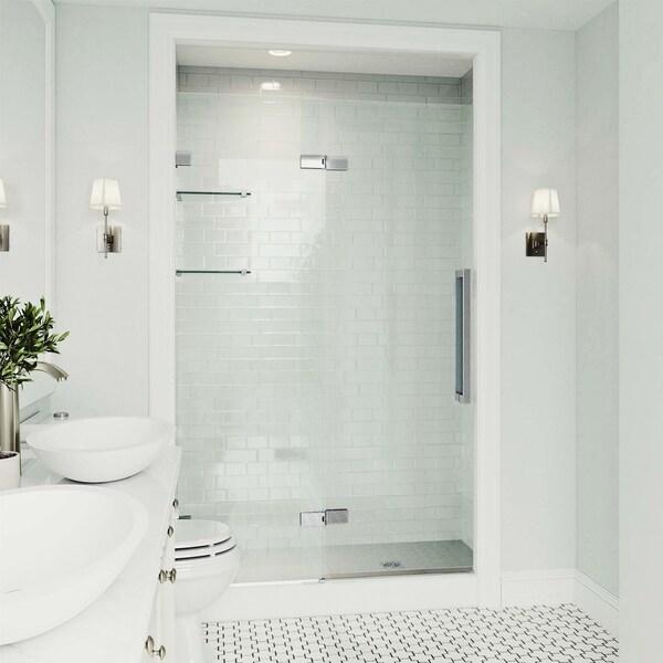 VIGO Powell Clear 48-inch Adjustable Frameless Hinged Shower Door